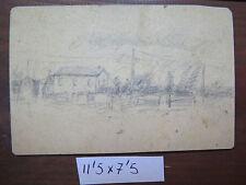 ANTICO DISEGNO 1940 BOZZETTO PER PAESAGGIO DI CAMPAGNA CON CASCINE DISEGNO P28
