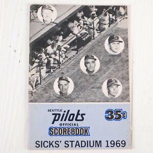 Seattle Pilots Scorebook 1969 Vs Boston Red Sox Sicks Stadium Game Program