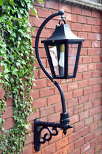 USED Ex-Display Black Swan Neck Victorian Garden Wall Light With Ornate Bracket