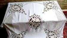 Terrific French 19Thc Linen Tablecloth Leaf Richelieu 2Types Bobbin Lace 57x57""