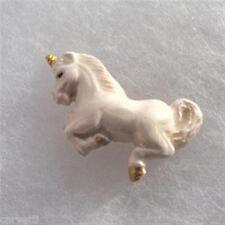Peruvian Ceramic White Unicorn Pendant Focal Bead (1) Hand Painted