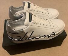 Mens Dolce & Gabbana Trainers Portofino Sneakers Size 10 White Black RRP£575!