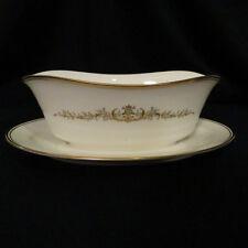 Gravy Boat with attached underplate Noritake Aldridge pattern white gold edging