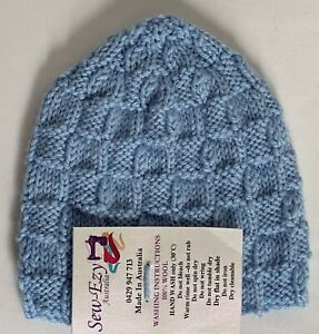 hand-knitted 100% Australian lxy-wool slouchy-beanies 0-3 months  sew-ezy-aus