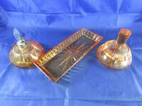 Echt Blei-Kristall Glasplatte Set 3tlg.Art Deco Parfüm Zerstäuber Flakon rosé