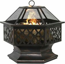 More details for hexagonal fire pit firepit brazier stove patio heater with poker