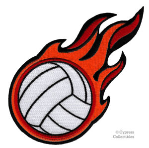 EMBROIDERED FLAMING VOLLEYBALL PATCH - new IRON-ON APPLIQUE BEACH VOLLEY BALL