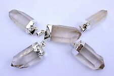 10 Silver Plated Quartz Crystal Point Pendants Bulk Wholesale Lot Healing 1