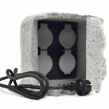 4-Fach Gartensteckdose Außensteckdose Stromverteiler Außenbereich Stein Grau
