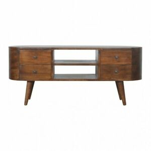 Mid Century Modern Deco Style TV Cabinet Media Unit / Sideboard In Dark Wood