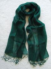 100% Linen Women and Girls Scarf (Dark Green)