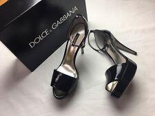 $995 Dolce Gabbana Ankle Strap Pumps Heels Platform Patent Leather US 9.5 ? 10 ?