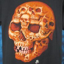 NOS vintage 80s SKULL FACE CARTOON PAPER THIN T-Shirt M/L biker skeleton punk