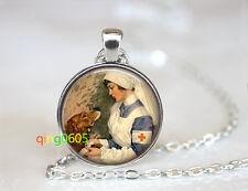 silver Chain Pendant Necklace wholesale Veterinarian Nurse glass dome Tibet
