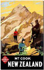 "Cool Retro Travel Poster CANVAS ART PRINT ~ New Zealand Mt Cook 8""X 10"""