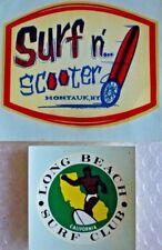 sURFING SURF CLUB LONG BEACH CA SURF N SCOOTER MONTAUK NY DECAL STICKER neocurio