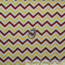 BonEful Fabric Cotton Quilt VTG White Maroon Yellow Red Boy Chevron Stripe SCRAP