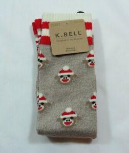 Women's Sock Monkey Tan Marble Stripes Knee High K Bell Socks Size 9-11