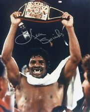 LEON SPINKS HAND SIGNED 8x10 COLOR PHOTO+COA       AWESOME POSE   BOXING LEGEND