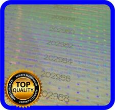 30 Hologram labels with serial numbers, warranty seals stickers 75x10mm