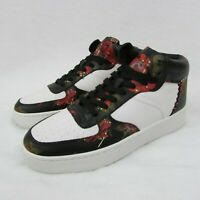 Coach Men's Shoes White Leather & Wild Lily Floral High Top 8.5 Sneakers G1680