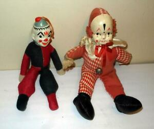 VINTAGE 2 CLOWN DOLLS WITH CELLULOID HEADS