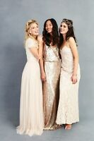 Donna Morgan GIA Vintage FAWN Lace Gown BHLDN Bridesmaid Wedding Dress 8