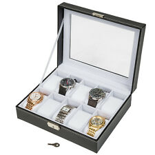 Horloge box voor 10 horloges doos kist multi horlogekoffer etui zwart wit