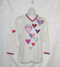 Bob Mackie  Hearts Embroidered V-neck Sweater Size S White