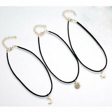3Pcs/Pack Women Chic Velvet Chain Moon Star The Sun Gold Pendant Choker Necklace