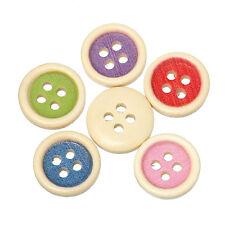 25 Mezclados redonda de madera incrustación Color 4 Agujero Botones 15mm coser manualidades scrapbook