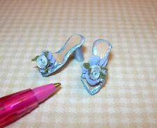 Miniatures Doll's Cobbler S. Rountree Blue Leather Mules-Silk Bows: DOLLHOUSE