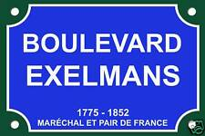 PLAQUE RUE EXELMANS PARIS Claude FRANCOIS 30X20cm ALU