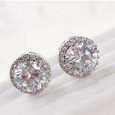 Women's Crystal Zircon Inlaid Ear Stud White Gold Plated Earrings Jewelry GOOD