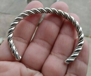 "Vintage Navajo  Sterling Silver Twisted Wire Cuff Bangle Bracelet 2"" 18.7 gr"