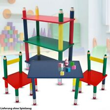 Children's Room Furniture Set Table Group Chairs Crayons Stand Shelf Wood