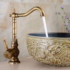 Art Flower Carved Swivel Spout Bath Sink Faucet Basin Mixer Tap Antique Brass US