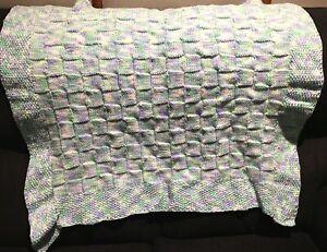 Handmade Knitted Knee Rug Blanket Green Baby Bassinet Cot Pram Shawl Toddler NEW