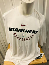 NIKE AUTHENTIC MIAMI HEAT LOGO XL TALL WHITE TEAM WORK OUT SHIRT NEW W/ TAGS