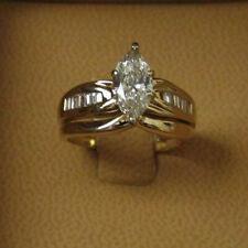 Cut Diamond 14k White Gold Over 2 ct Engagement Wedding Ring Set Marquise