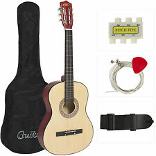 New Beginners Acoustic Guitar With Guitar Case, Strap, Tuner and Pick Natur