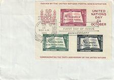 1955 United Nations New York FDC cover 10th Anniversary UN