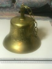 Antique Large Antique Brass Bell With Oriental Design