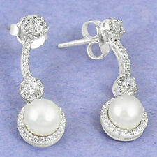 Natural white pearl topaz 925 sterling silver dangle earrings jewelry a54773