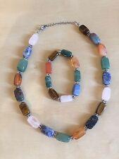 Mexico HandMade Necklace Bracelet Metal Jewelry Folk Art Set Bead Multi Colorful