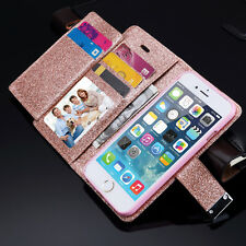 Bling Glitter Magnetic Flip Cover Wallet Leather Case For iPhone Samsung S9 Plus