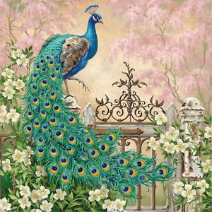 "peacock  canvas  16""x16"" wall art ready to hang"