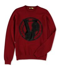 Versace Mens Graphic Print Logo Pullover Sweater red S