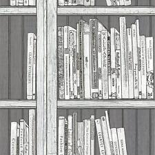 Silver Bookcase Wallpaper Modern Library Books Wooden Effect Black White Holden