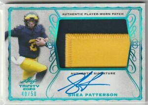 Shea Patterson Michigan Wolverines 2020 Leaf Trinity Rookie Patch AUTO RC /50